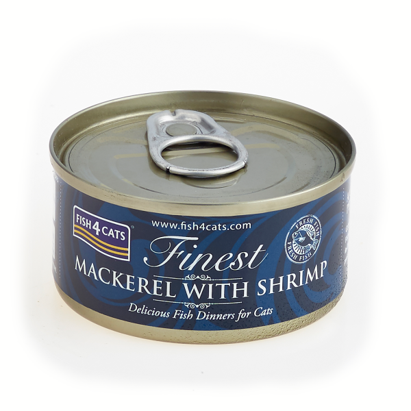 FINEST FISH4CATS <br>MACKEREL <br>with SHRIMP