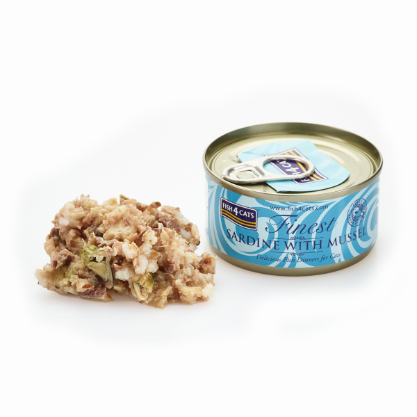 FINEST FISH4CATS<br>SARDINE <br>and MUSSEL